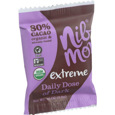 Nibmor Organic Daily Dose Of Dark - Extreme 80 Percent Cacao - .35 Oz - Case Of 60