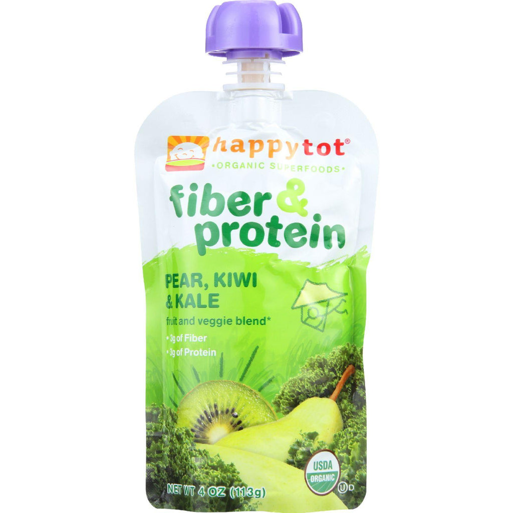 Happy Tot Toddler Food - Organic - Fiber And Protein - Stage 4 - Pear Kiwi And Kale - 4 Oz - Case Of 16