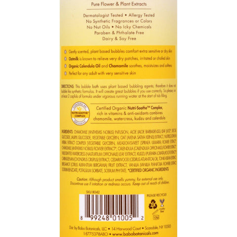Babo Botanicals Baby Bubble Bath And Wash - Moisturizing - Oatmilk - 15 Oz
