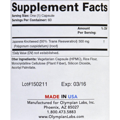 Olympian Labs Trans-resveratrol - Clinical - 500 Mg - 60 Vegetarian Capsules