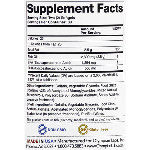 Olympian Labs Omega-3 Fish Oils - Ultimate - Enteric Coated - 60 Softgels