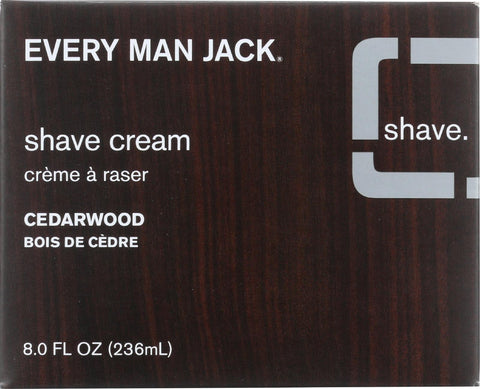 Every Man Jack Shave Cream - Premium Shave - Brush Or Brushless - Cedarwood - 8 Oz