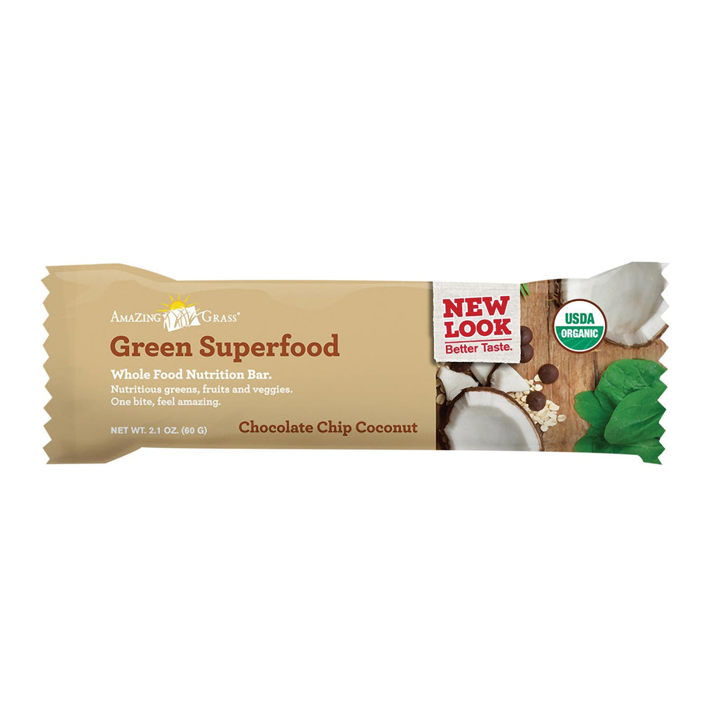 Amazing Grass Green Superfood Nutrition Bar - Chocolate Chip Coconut - Case Of 12 - 2.1 Oz.