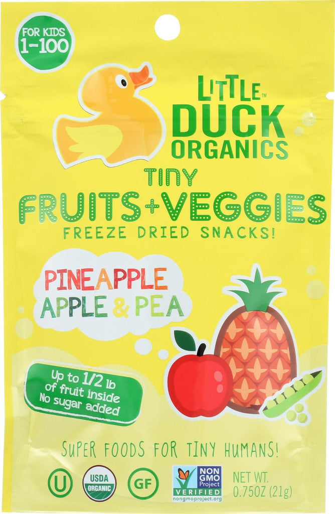Little Duck Organics Tiny Fruits Veggies - Pineapple, Apple And Pea - Case Of 6 - 0.75 Oz.