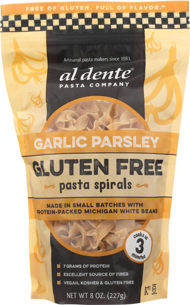 Al Dente Gluten Free Pasta Spirals - Garlic Parsley - Case Of 6 - 8 Oz.