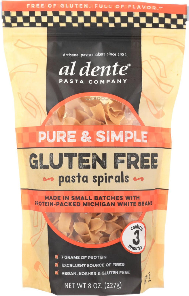 Al Dente Gluten Free Pasta Spirals - Pure And Simple - Case Of 6 - 8 Oz.
