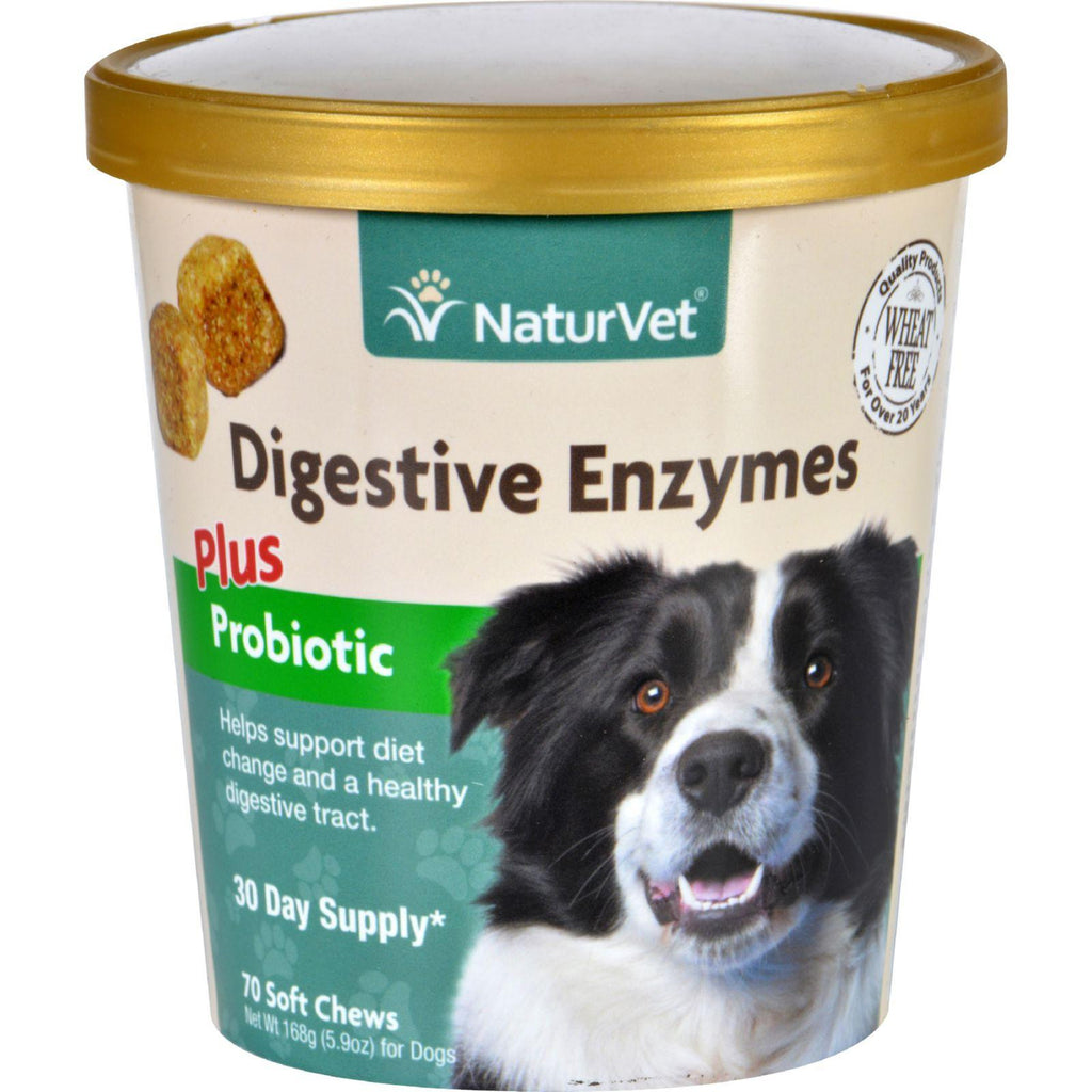 Naturvet Digestive Enzymes - Plus Probiotics - Dogs - Cup - 70 Soft Chews