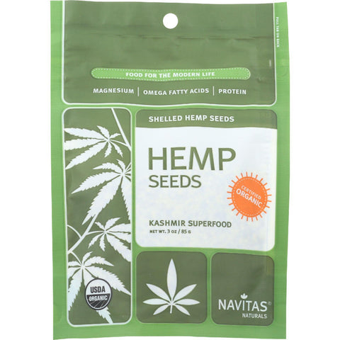 Navitas Naturals Hemp Seeds - Organic - Hulled - 3 Oz - Case Of 12
