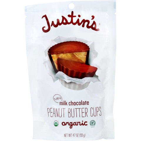 Justins Nut Butter Peanut Butter Cup - Organic - Milk Chocolate - Mini - 4.7 Oz - Case Of 6