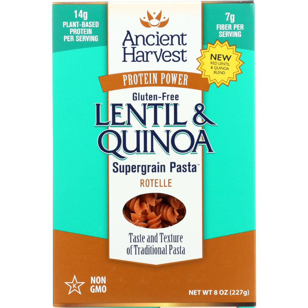 Ancient Harvest Pasta - Supergrain - Red Lentil And Quinoa Rotelle - Gluten Free - 8 Oz - Case Of 6
