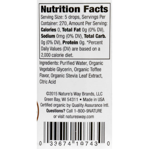 Natures Way Stevia - Organic - Toffee - Drops - 2 Oz