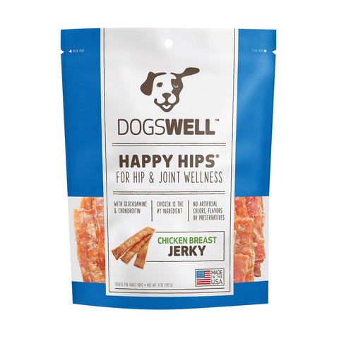 Dogs Well Happy Hips Chicken Breast Jerky Treats - Case Of 12 - 4 Oz.