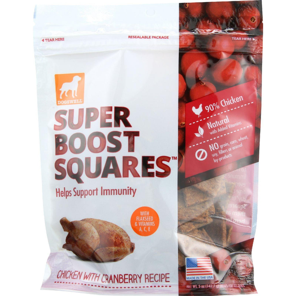 Dogswell Dog Treats - Super Boost Squares - Immunity - Chicken With Cranberry - 5 Oz - Case Of 12