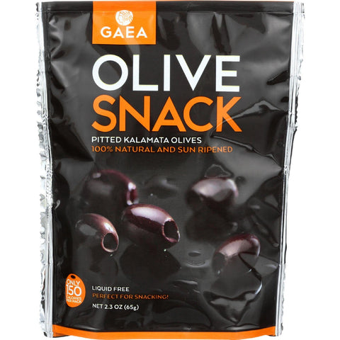 Gaea Olives - Kalamata - Pitted - Snack Pack - 2.3 Oz - Case Of 8