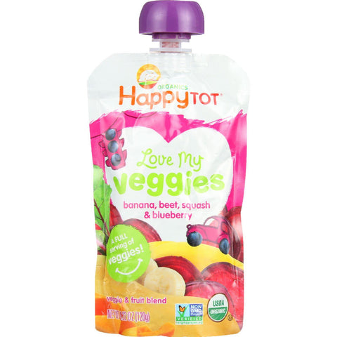 Happy Tot Toodler Food - Organic - Love My Veggies - Banana Beet Squash And Blueberry - 4.22 Oz - Case Of 16