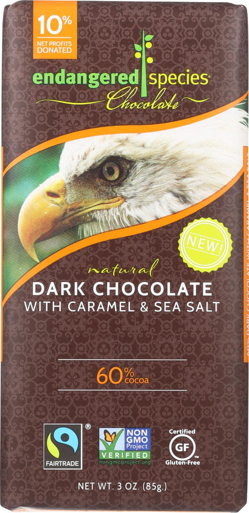 Endangered Species Chocolate Bar - Dark Chocolate - Caramel - Sea Salt - 3 Oz - Case Of 12