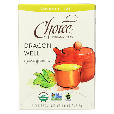 Choice Organic Gourmet Green Tea - Dragon Well - Case Of 6 - 16 Count