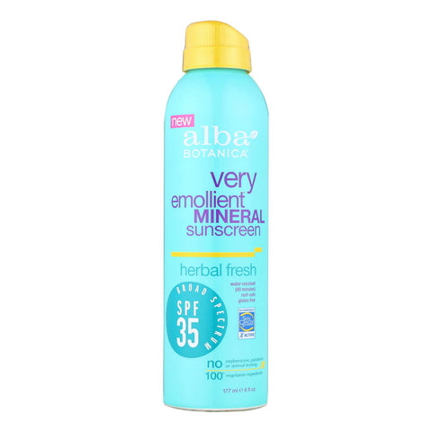 Alba Botanica Very Emollient Mineral Sunscreen - Herbal Fresh - Case Of 1 - 6 Oz.