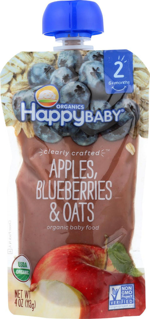 Happy Baby Happy Baby Clearly Crafted - Apple, Blueberries And Oats - Case Of 16 - 4 Oz.