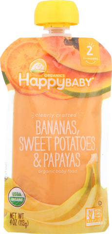 Happy Baby Happy Baby Clearly Crafted - Bananas, Sweet Potatoes And Papayas - Case Of 16 - 4 Oz.