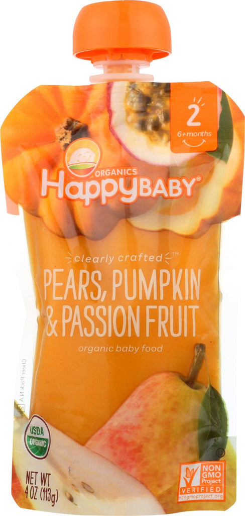 Happy Baby Happy Baby Clearly Crafted - Pears, Pumpkin And Passion Fruit - Case Of 16 - 4 Oz.