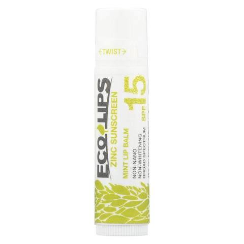 Ecolips Mint Lip Balm - Zinc Sunscreen Spf 15 - Case Of 24 - 0.15 Oz.