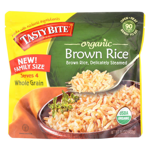 Tasty Bite Organic Brown Rice - Family Size - Case Of 6 - 16 Oz.
