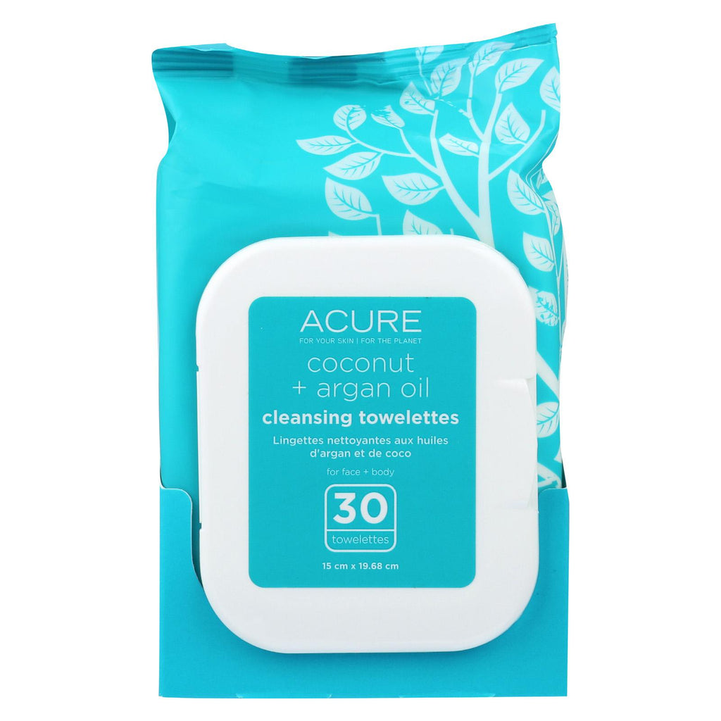 Acure Towelettes - Argan + Coconut Oil - 30 Count