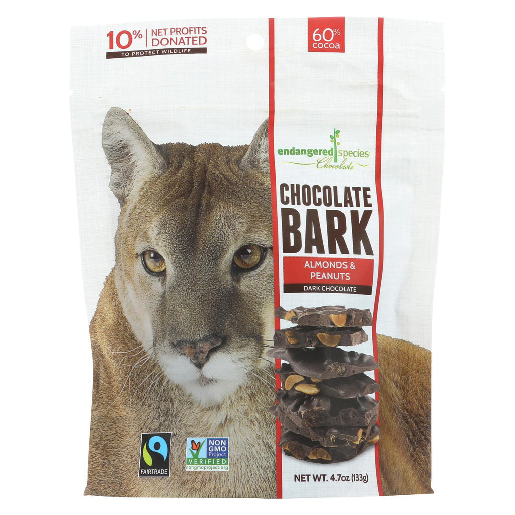 Endangered Species Chocolate Dark Chocolate Bark - Almonds & Peanuts - Case Of 12 - 4.70 Oz