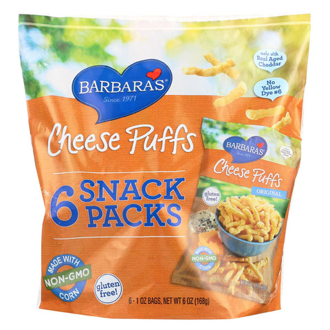 Barbara's Bakery Cheese Puffs - Multipack - Case Of 6 - 6-1 Oz