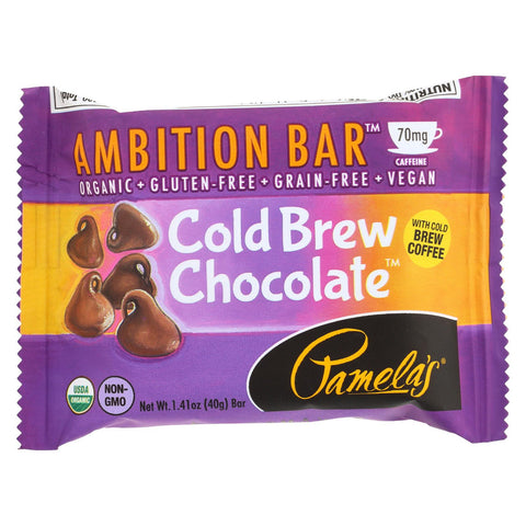 Pamela's Products Ambition Bar - Cold Brew Chocolate - Case Of 12 - 1.41 Oz