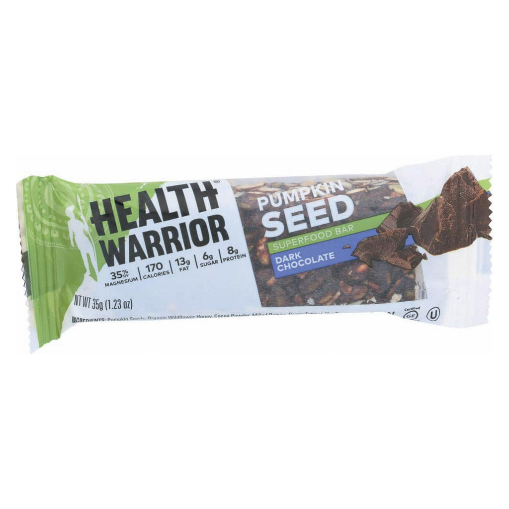 Health Warrior Superfood Bar - Dark Chocolate Pumpkin Seed - Case Of 12 - 1.23 Oz