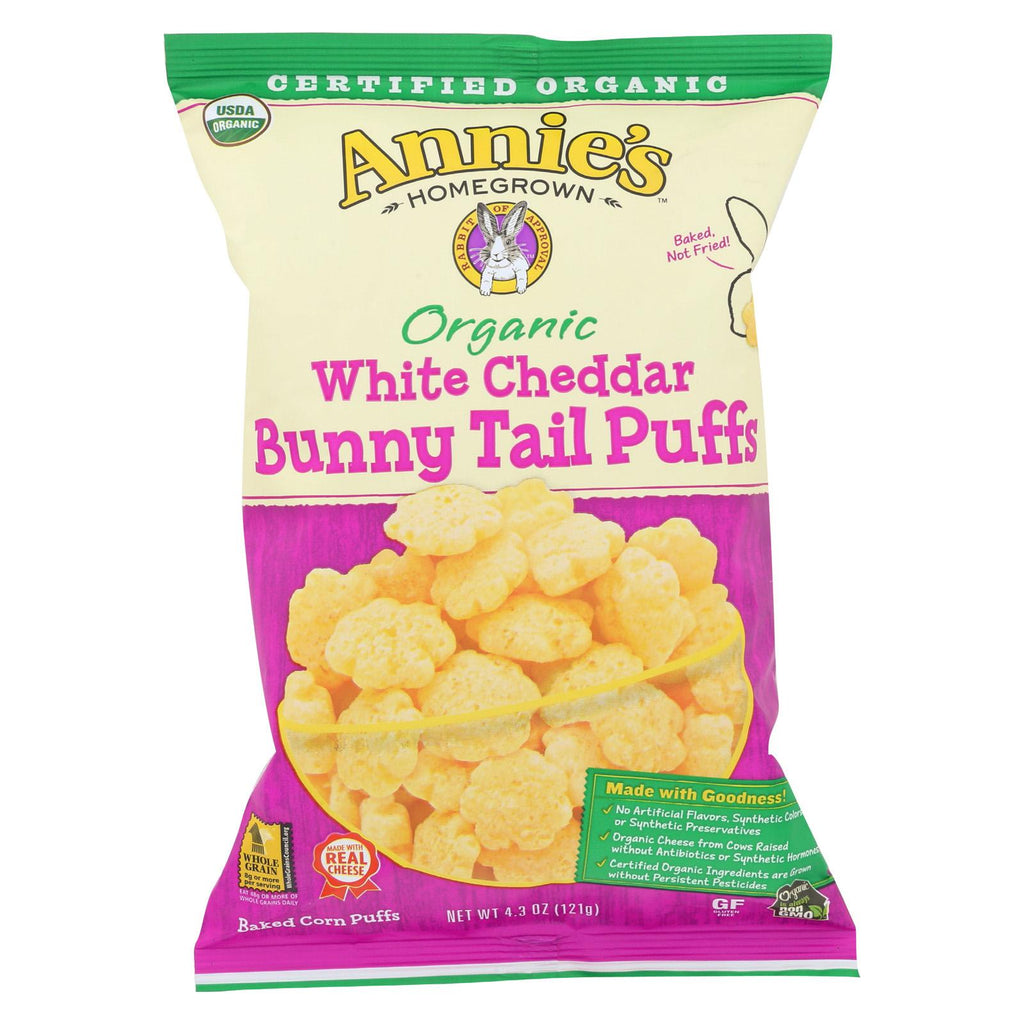 Annie's Homegrown Organic Cheese Puffs - White Cheddar Bunny Tails - Case Of 12 - 4.3 Oz