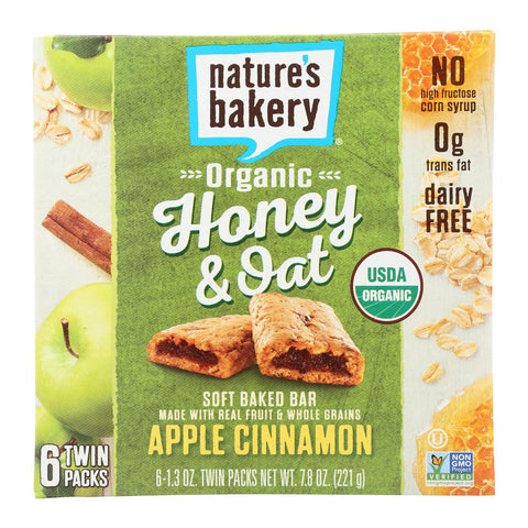 Nature's Bakery Organic Honey And Oat Bar - Apple Cinnamon - Case Of 6 - Pack Of 6 - 1.3 Oz.