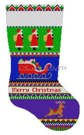 Bold Stripe Santa Stocking-Susan Roberts 0138-Stitch Guide by Mary Ann Davis