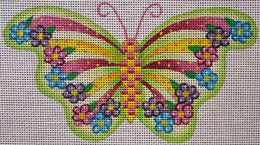 Green & Pink Stripes Butterfly