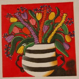 Striped Vase & Tulips