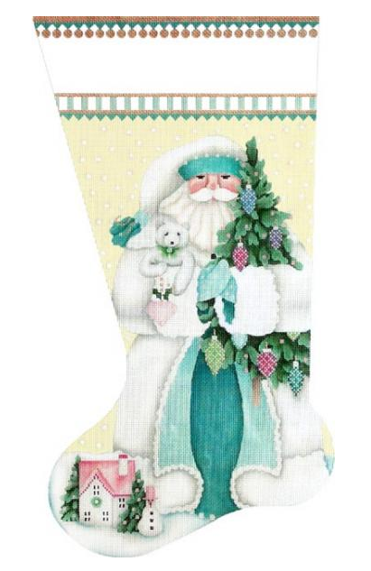 Winter White (Aqua) Santa Stocking Stitch Guide by Mary Ann Davis (MS205UU)