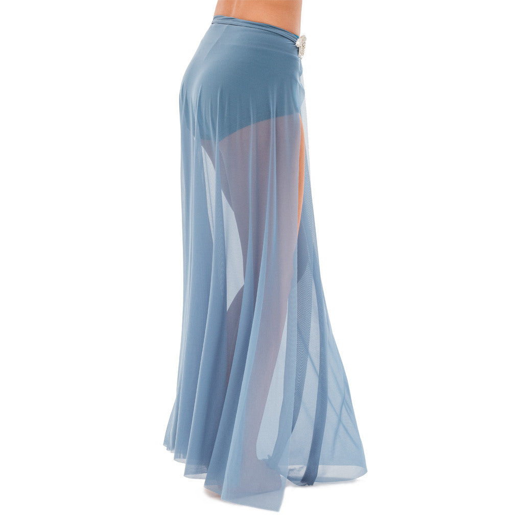 Long Mesh Skirt with Side Slit - Style 4217