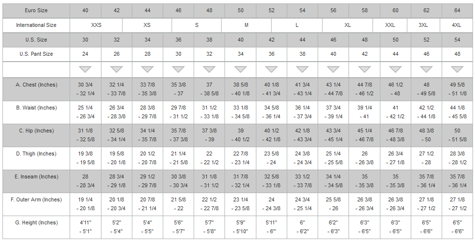 Alpine Stars Menu0027s Apparel Size Chart (Inches)
