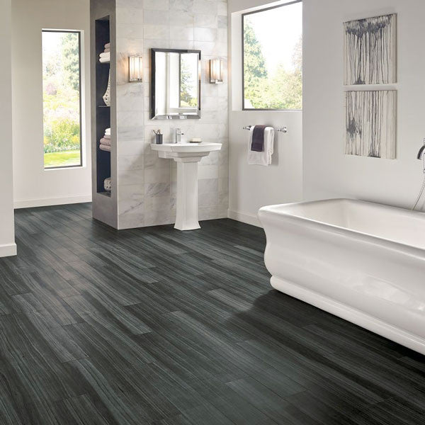 Armstrong luxe plank with rigid core empire walnut raven for Hardwood floors in bathroom