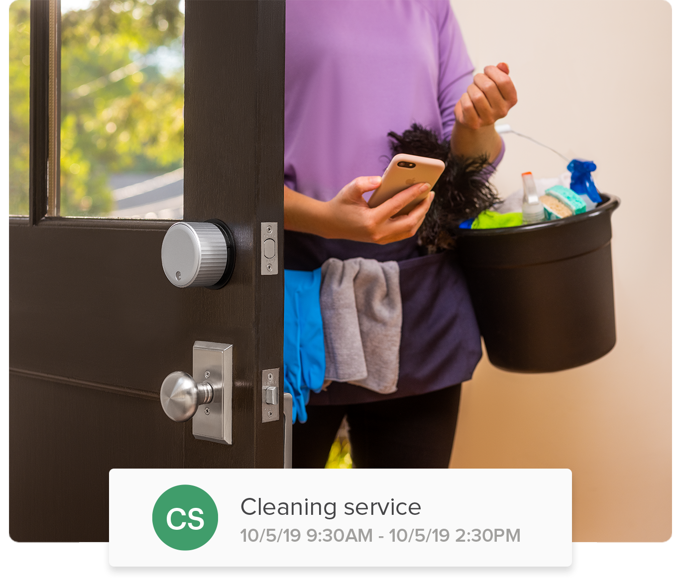 Person Checking App On Phone While Cleaning