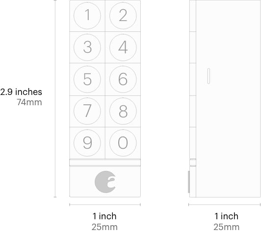 August Keypad Size Diagram