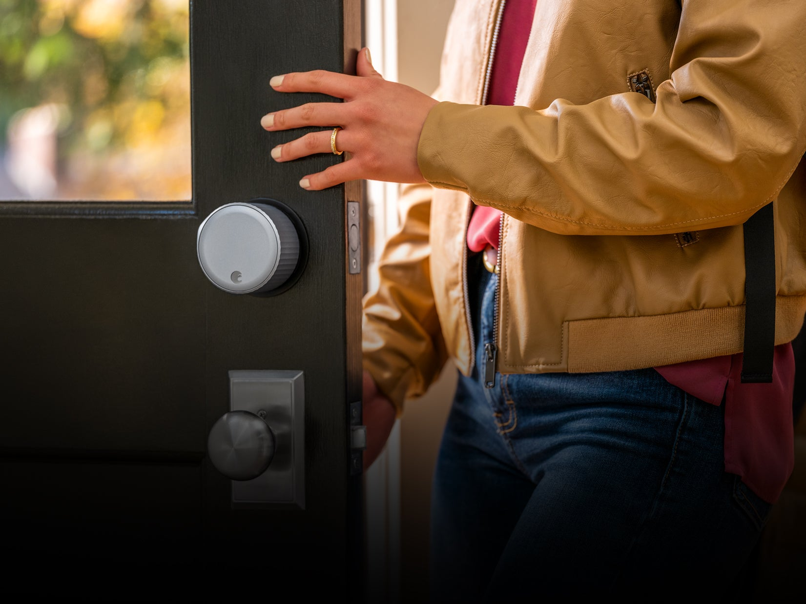 Woman Opening Door with WI-FI Lock