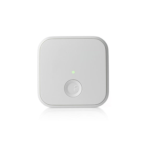 A white smart home connect on the grey and white background