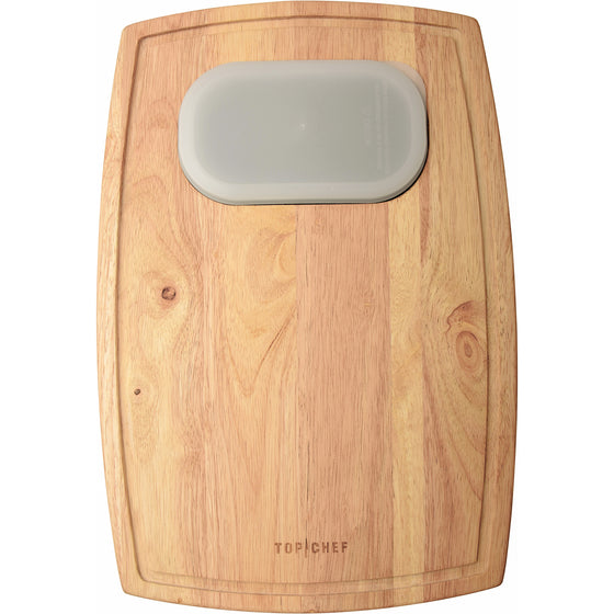 TOP CHEF® Natural Wood Cutting Board With Expandable Bowl