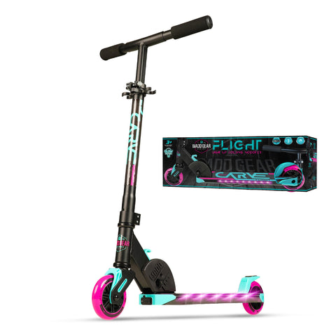 Madd Gear Flight Kids Light Up Folding Kick Scooter Pink