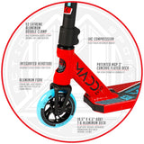 Madd Gear Kick Extreme Stunt Pro Scooter Red Blue Aluminum Fork