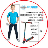 Madd Gear Kick Extreme Stunt Scooter Red Blue Recommended Rider Size
