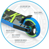 Madd Gear Kick Extreme Stunt Scooter Blue Green Brake